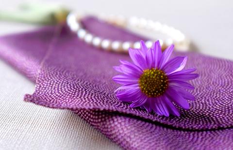 袱紗と紫色の花